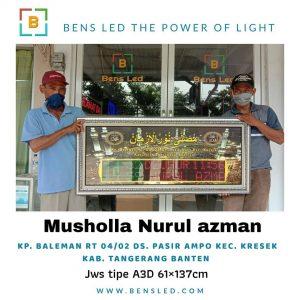 Jadwal Sholat Digital A3D - Musholla Nurul azman Kp. BALEMAN RT 04 /02 Ds. Pasir ampo kec. Kresek kab. Tangerang Banten