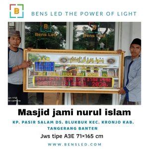 Jadwal Sholat Digital A3E - MASJID JAMI NURUL ISLAM kp. Pasir salam Ds. Blukbuk kec. Kronjo kab. Tangerang Banten